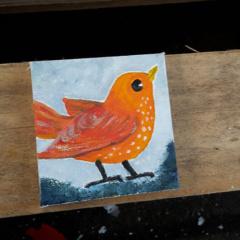 klein vogel schilderijtje