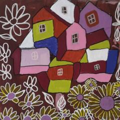huisjes op canvasboard