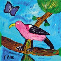 Schilderij Roze vogel