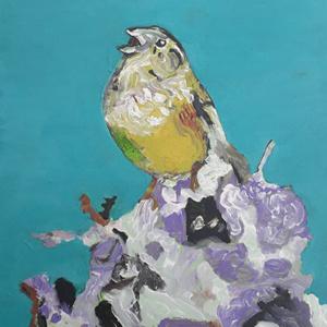 Schilderij Zingende vogel