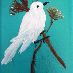 Wit vogeltje op canvas