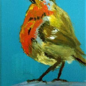 Kleurig vogeltje op canvas
