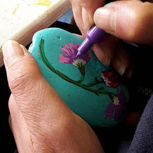 beschilderde keien