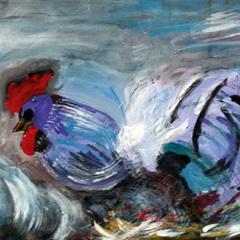 Schilderij de Blauwe Haan