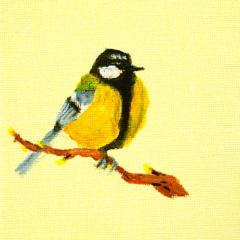 Vogeltje op canvas