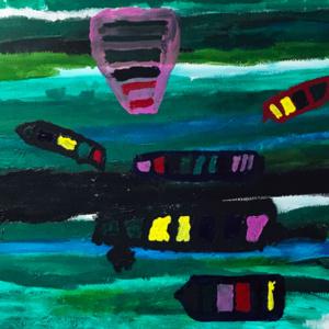 Schilderij Op de rivier
