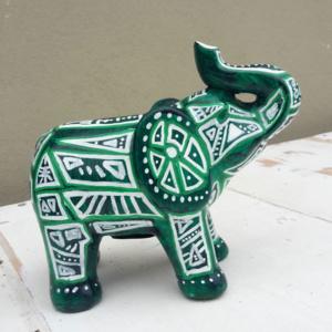 spaarpot Olifant tribal groen