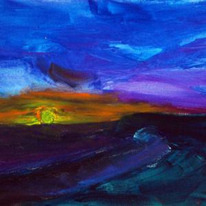 Schilderij Ondergaande zon