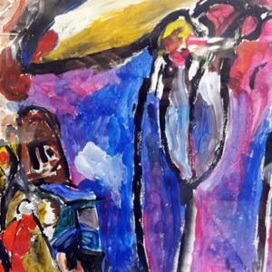 Schilderij Abstract paars