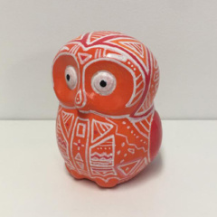 spaarpot oranje uiltje met tribal tekening