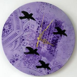 Klok van oude elpee paars