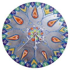 Klok van oude elpee mandala zilver