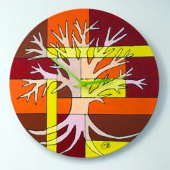Klok van oude elpee oranje boom