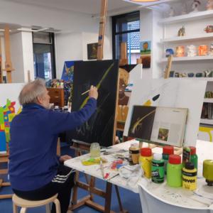 Lekker aan het schilderen