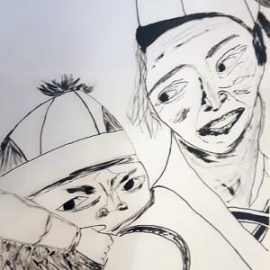 """Pentekening """"Moeder en kind"""""""