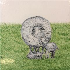 Tegel met moeder schaap