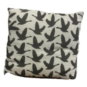 kussen met vogels grijs zwart