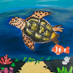 """Schilderij  """"Schildpad in de Caraïben"""""""
