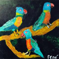 Schilderij Papagaaitjes