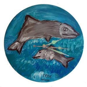Klok van oude elpee met dolfijnen