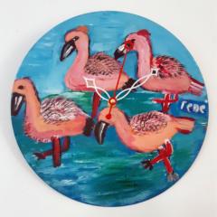 Klok van oude elpee met flamingo's