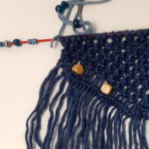 Macramé wandhanger Blauw knoop