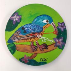 Klok van oude elpee Jungle vogel