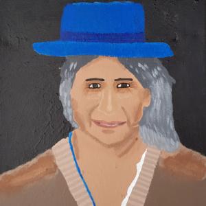 """Schilderij """"Met een blauwe hoed"""""""