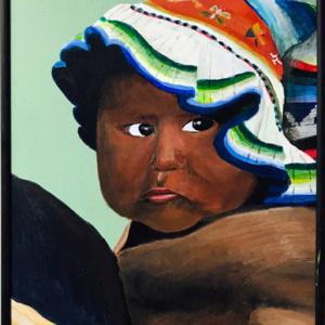 """Schilderij """"Meisje met gekleurde hoed"""""""