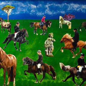 """Schilderij """"Paarden in de wei"""""""