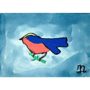 Schilderij Blauwe vleugel