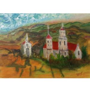 Schilderij Klooster in de bergen