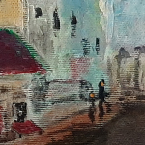 Schilderij Fietsen in het dorp