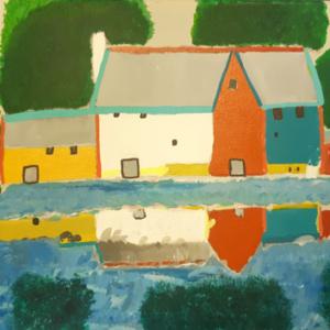 """Schilderij """"Langs het water"""""""