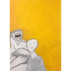 """Schilderij """"De schreeuwende mannen"""""""