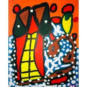 Schilderij 'Huis van licht naar Hundertwasser'
