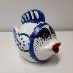 Spaarpot vis rood wit blauw