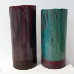 Vaas dubbele cilinder turquoise en paars