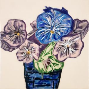 Tegel met paarse bloemen